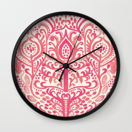 Strawberry and Cream Watercolor Tulip Damask Wall Clock