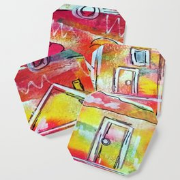 Orange Neon Houses Coaster
