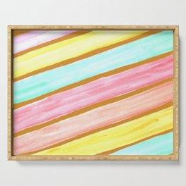 Retro Watercolor Stripes  Serving Tray