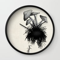 mushrooms Wall Clocks featuring Mushrooms by Nicklas Gustafsson