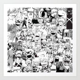 angry bakugou collage Art Print