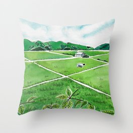 Tending Paddy in the Valley Throw Pillow