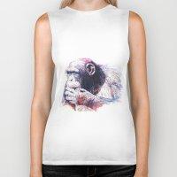 monkey Biker Tanks featuring Monkey by Cristian Blanxer