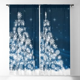 Blue Christmas Eve Snowflakes Winter Holiday Blackout Curtain