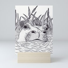 Black and White Hippo Mini Art Print