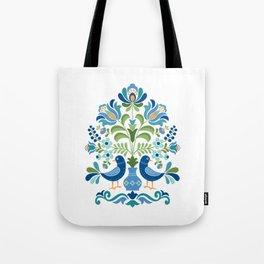Hungarian Folk Design Blue Birds Tote Bag