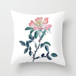 Hand Painted Watercolor Wild Rose Flower Throw Pillow