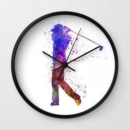 man golfer swing silhouette Wall Clock