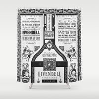 the lord of the rings Shower Curtains featuring Lord of the Rings Rivendell Vineyards Vintage Ad by Barrett Biggers