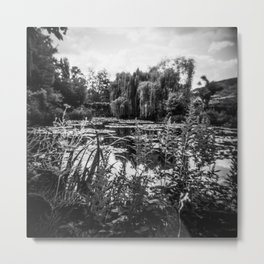 Monet's Garden in Black and White - Film Photograph Metal Print