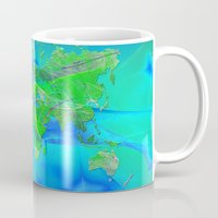 world map Mugs featuring World Map by Roger Wedegis