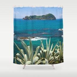 Islet and coastal vegetation Shower Curtain