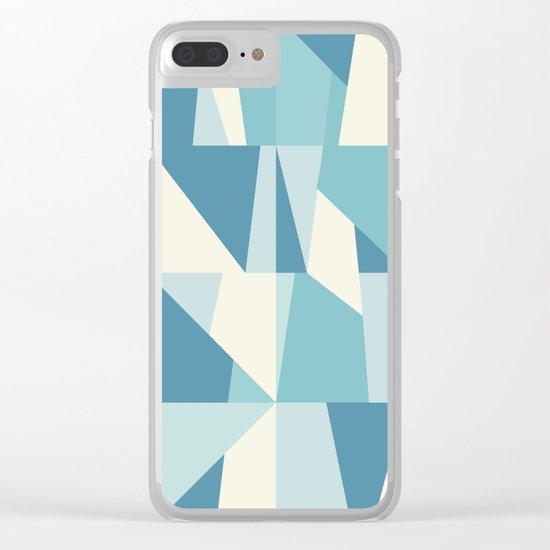 Geometric Blue Pattern Clear iPhone Case