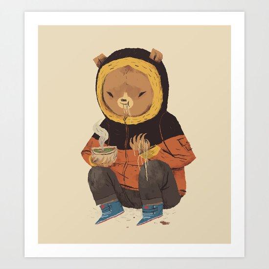 noodle bear Art Print