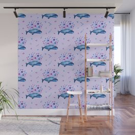 Floral Whales pattern 4 Wall Mural