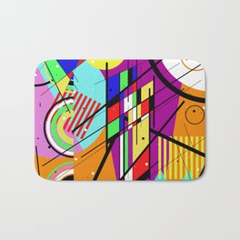 Crazy Retro 2 - Abstract, geometric, random collage Bath Mat