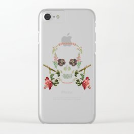 Floral Skull Clear iPhone Case