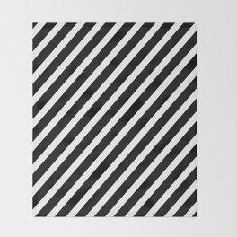 Black and White Diagonal Stripes Throw Blanket