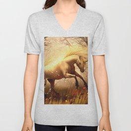Wonderful Fairytale Fable Creature Horned Horse Wood Clearing Twilight UHD Unisex V-Neck