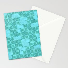 Blue-green Ornamental Print Stationery Cards