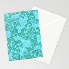 Blue-green Ornamental Print Stationery Cards