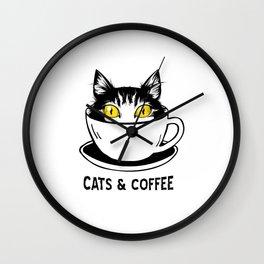 Cat Coffee Cats Fan Funny Drawing Gift Wall Clock