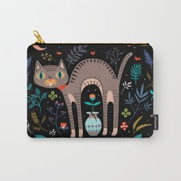 Floral and Cat at night Carry-All Pouch