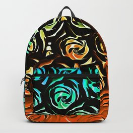 rose pattern texture abstract background in blue green orange Backpack