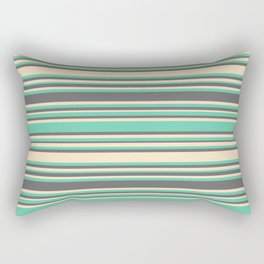 Aquamarine, Dim Gray, and Bisque Colored Lines/Stripes Pattern Rectangular Pillow