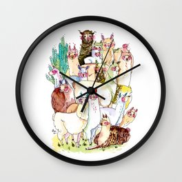 Wild family series - Llama Party Wall Clock