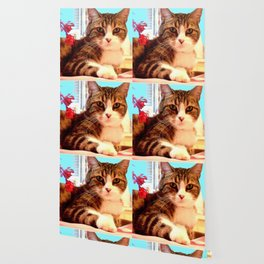 Cat with Flowers Wallpaper