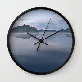 Foggy lake landscape Wall Clock