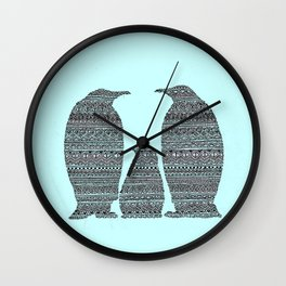Penguin family aztec pattern Wall Clock