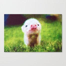CUTE LITTLE BABY PIG PIGLET Canvas Print