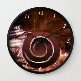 White spiral on brown Wall Clock