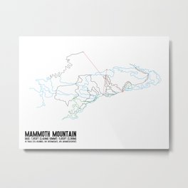 Mammoth Mountain, CA - Minimalist Summer Trail Art Metal Print