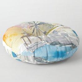 Santorini Therassia Lonely Island in Greece Floor Pillow