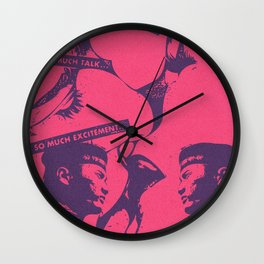Pink Pop Art Kiss Scandal in Paris Wall Clock