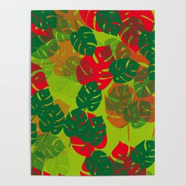 monstera green red Poster
