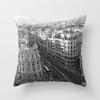 madrid Throw Pillows featuring Madrid by Cristina Serrano