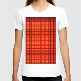 Lines and Squares crossed in red color - DDF650 T-shirt