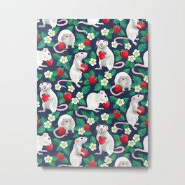 Rats Love Strawberries on navy blue Metal Print
