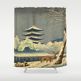 Asano Takeji Sarusawa Pond Japanese Woodblock print Winter Snow Landscape Pagoda With Deers Shower Curtain