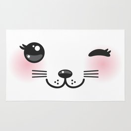 Kawaii funny cat with pink cheeks and winking eyes on white background Rug