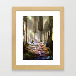 Playing in the woods Framed Art Print