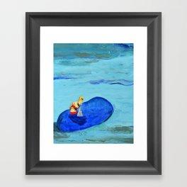 Girl Feeding Dolphin Framed Art Print