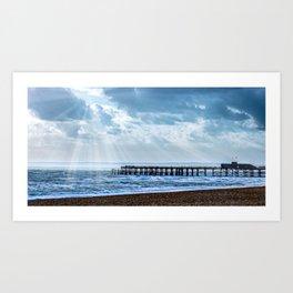 Cloudy Pier Scene Art Print