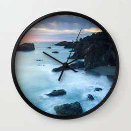 Oregon Coast Sunset at Thunder Rock Cove Wall Clock