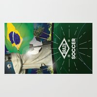 world cup Area & Throw Rugs featuring Brazil World Cup by Maioriz Home