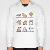 pomeranian Hoodies featuring Pomeranian yoga by Huebucket